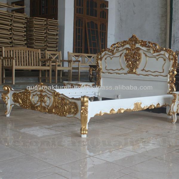고풍스러운 침실 가구- 골동품 프랑스어 로코코 침대를 흰색 ...