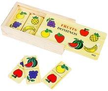 children educational fruit wooden domino toy