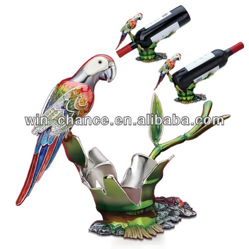 papağan ayakta yeşil şube şarap tutucu