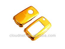Gold Plated Chrome Hard Plastic Keyless Remote Key Fob Remote Flip Key Protection Case For VW Volkswagen MK4 MK5 Golf Jetta Bora