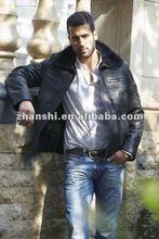 Fashion Black Men Leather Fur Jacket
