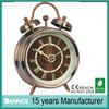 3 inch brass metal case mini twin bell antique brass table alarm clock