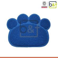Paw shape blue loop pile waterproof dog toilet rugs PVC pet mat