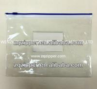 Transparent PVC plastic file zipper bag with card pocket