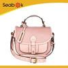 New Fashion Long Strap Brand Designer Pink Leather Woman Handbag