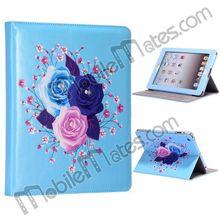 Bling Diamond Flower Pattern Rhinestone Stand Leather Flip Case For New iPad/iPad 2/iPad 4 (Blue)