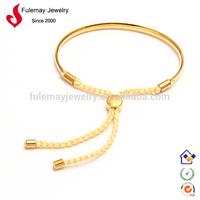 Real 18k gold plated silk rope bracelet FJ010/011