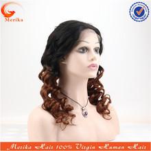 Brazilian virgin hair two tone german lace wig