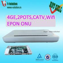 Newest 6838F Chip 4GE+2POTS+WiFi+CATV PON ONU