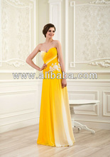good quality yellow long evening dress for bridesmades