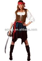 Adult Ladies Pirate Fancy Dress Costume Lady Womens Caribbean Pirates BW862