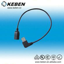 Black color angled usb 2.0 connector am/af usb cable