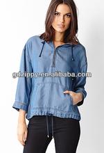 Loose fancy light blue zipper Denim jacket