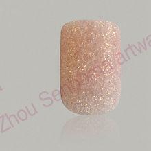 light pink nails glitter artificial fake finger