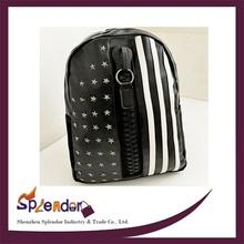 School big zipper decorative black backpack decent stars and stripes ...