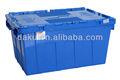 600*400mm yığını yuva plastik kutu tote kapaklı