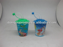 3D plastic cup with straw