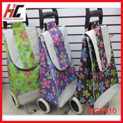 fashion portable folding shopping trolley bag with wheels travel trolley bag