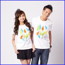Wholesale summer fashional unisex silk screen printing couple t shirts(OEM service)