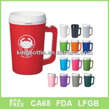 16oz Newest big size Double wall plastic mug with handle