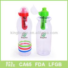 Plastic sport water bottle with filter net