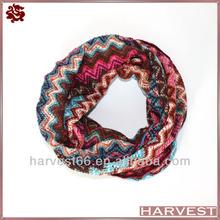 Knitted zig zag chevron jacquard infinity scarf