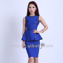 blue peplum dress formal meeting dress bandage dress guangzhou