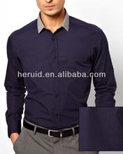 Lastest fashion 100% cotton plain navy shirt wholesale mens dress shirts