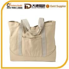 Wholesale eco cotton canvas reusable shopping bag with pocket outside