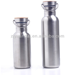 750ml single wall Stainless steel water bottle with mirror finish and bamboo cap