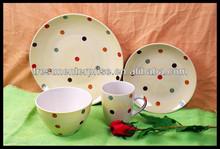 Round Shape Stoneware Dinnerware Set Tableware Set Handpainted 16 pcs