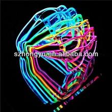 Crazy funny club ,lu amazing plastic EL wire flashing 3D luminous/noctilcent/fluorescent diffraction glasses party glasses