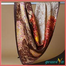 90*90cm Custom Digital Silk Oil Printing Turkey Scarf