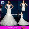 XL503 Cap Sleeve Organza Pleat Bodice Ruffle Skirt Mermaid Alibaba Suzhou Wedding Dress