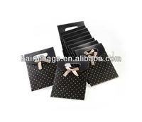 Folding Satin Ribbon Tie Paper Gift Bag with Dot