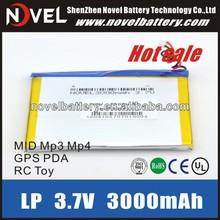 Cheap Customize 3.7v 3000mAh High Capacity Lipo Battery Bluetooth, MP3/MP4, P-DVD, MID, PDA, and cellular phone