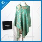 100%Polyester vintage style flower print voile pashmina scarf