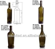 750ml Dark Green Glass Grape Wine Bottle With Cork Wholesale