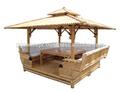 De bambu Gazebo com integrado banco de estar e mesa dentro, Telhado de bambu