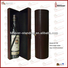 PU leather gift cylinder wine packaging with elastic(4071R6)