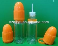 2014 new design 10ml PET wholesale plastic E-liquid bottle with long thin needle tip