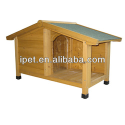Asphalt roof wooden dog kennel with adjustable feet DK007S