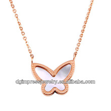 Women Rose Gold Butterfly Shape With Seashells Stainless Steel Necklaces