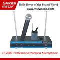 Jt-2000 uhf microfone dual channel colarinho microfone microfone sem fio
