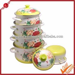 High quality full flower design 5pcs porcelain enamel cookware
