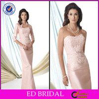 Hot Sale Pink Lace Appliqued Tea Length Crystal Belt Mother Of The Bride Dress With Jacket