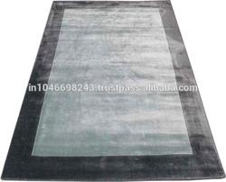 Hand loom border design wool/viscose rug - Latexed back