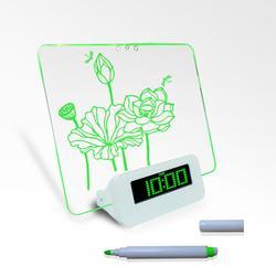 Digital clip desk clock with message board
