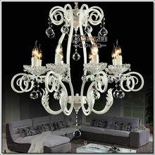 2014 Gold Supplier Iron Chandelier,Crystal Pendant Lights ,White or Black Lighting Fixture MD88010 L8