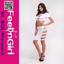 Wholesale Hot Sex Two Piece White Cut Out Bandage Dress Wholesale
